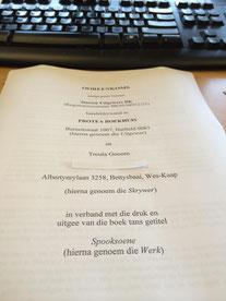 Troula Goosen se manuskrip 'Spooksoene' verskyn by Protea Boekhuis. Troula het Skryfgeheime se Kinder- en jeugboek-kursus voltooi.