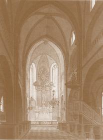 Erkennen Sie Lyskirchen wieder? Fresken weiss überstrichen, Mittelfenster im Chorraum zugemauert und barocker Hochaltar im Chor