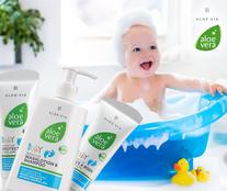 Nous avons une gamme de produits aloe vera spéciale pour les tout petits et sans allergènes avec de l'aloe vera.