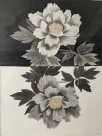 「白と黒 」 水墨画 F8号