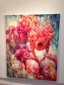 個展「桂典子個展」(2013年) 抽象表現風にやや激しい。