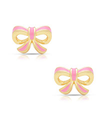 earrings, jewelry, kids, child, gifts, rehoboth, baby, boutique, store, shop, lewes, leverback, stud, post, lever back, training, gold, pink, bows, sweet, cute, little, girl