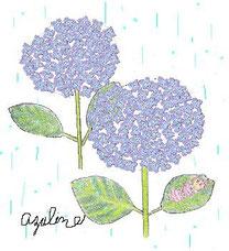 雨のあじさいとオッホッホ姫