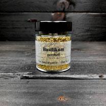 Genuss Hütte Basilikum Gewürz auch Basilie, Basilienkraut oder Königskraut genannt. im Gerwürz Glas von der Genuss Hütte