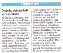 Westdeutsche Zeitung Vorbericht vom 23.11. 2007 DM