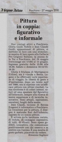 """articolo de """"Il Grigione Italiano"""" del 27.05.2010 di Ermanno Sagliani"""