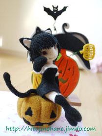 羊毛フェルト ハロウィン黒猫ちゃん Black cat girl
