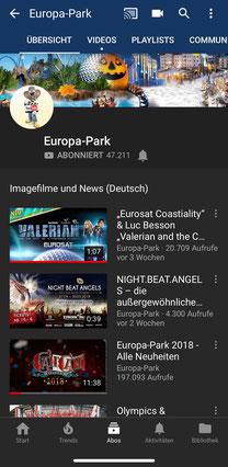 Europa-Park auf YouTube
