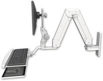 ASELP5216-WT-KUB :ガススプリング内蔵 昇降式 壁面固定ロングアーム ディスプレイキーボード用