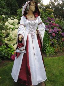 Mittelalter Brautkleid,Satin,weiß,rot,Atelier Mittelalter - Fashion