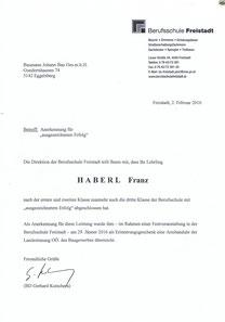 Unser Lehrling Franz Haberl glänzte auch im dritten Berufsschuljahr durch hervorragende Leistungen. Die Gesellenprüfung kann kommen! Super Franz! Wir gratulieren dir!