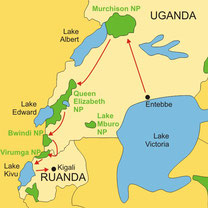 Lodgesafari in Uganda ab/bis Entebbe