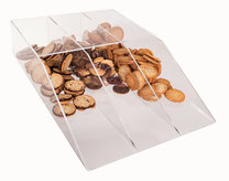 Gebäckschütte, 3 Fächer, offen, aus transparentem Acryl, gefüllt mit Plätzchen, Artikel 9411015, FMU GmbH, Gebäckschütte, Plätzchenschütte