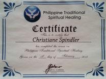 Zertifikat Philippinische Geistheilung Christiane Spindler