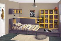 décoration chambre ado New York jaune et gris