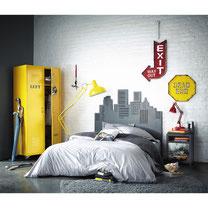 décoration accessoires chambre New York jaune et gris