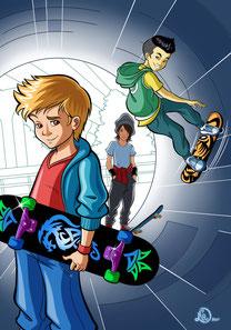 illustration-little-skater-boys-with-their-skateboards