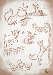 fairy tales picture_wolf with little red riding hood, rabbit, lamb, fox and chicks