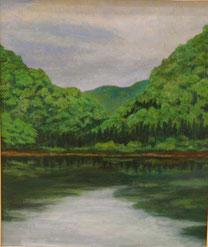 新緑 山の池 油彩8号