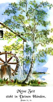 Birke und Wasserrad