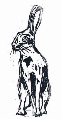 Lepus europaeus  Holzschnitt Handabzug 30x20 cm