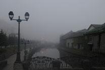 日本 北海道 小樽 Deep fog of canal