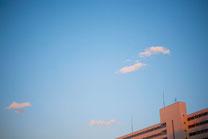 青空に落ちてゆく夕日