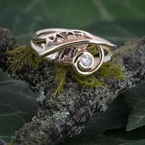 Oak Leaf & Diamond Ring