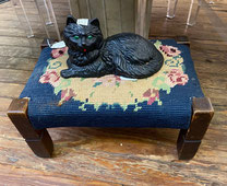 Needlepoint Stool $64.00 Cast Iron Cat $48.00