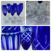 Imperial Estate Cobalt Cut to Clear Champagne Flutes Set of Six  $125.00