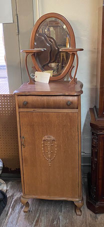 Mirrored Top Oak Record Cabinet with Drawer $595.00