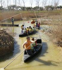 La barca a Pexa es una modalidad tradicional de navegar por el lago de la Albufera de Valencia que se empuja con un palo largo que llega al fondo del lago.