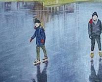 Ilustración de 2 niños patinando sobre una pista de hielo