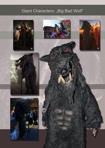 """""""Big Bad Wolf"""" by HuWu Auftraggeber: Safaripark Stukenbrock     Gewicht: 7,5kg                                                 Höhe: 2,40m                                 Extras: Powerriser (Sprungstelzen)"""