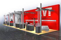 markantes Standbau Design, gabaute Form, durchdringende Architektur, raumbeschreibend, Industriedesign, Produktdesign, 3D Visualisierung, Besucher Erlebnis, Eyecatcher, zeitloses Design