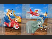 spielerische, kindgerechte Wandgestaltung, Grafikdesign, Olympia Maskottchen, Spielzeug, Kindergarten, Spiel Figuren, 2D Grafik, Photoshop Grafik, Computer Grafik, Wandbild, Erlebnis shopping, Comic