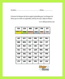 ejercicios de atención letras y colores