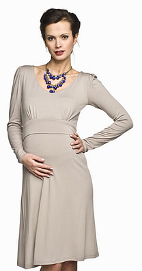 cappuccino maternity dress long sleeve made in europe