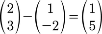 Beispiel für eine Vektorsubtraktion von 2D Vektoren