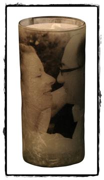Kerze mit eigenem Foto zur Hochzeit