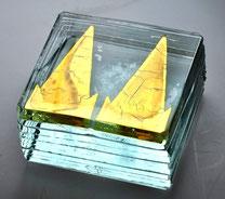 Goldglas, paperweight, kölner Dom, heiner düsterhaus, fusing, studioglas, glaskunst