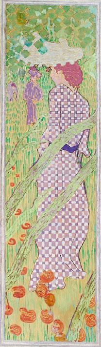 《チェックドレスを着た女性》1890年