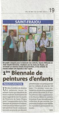 1ère Biennale de peinture d'enfants, La Gazette 16/5/2012