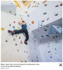 Screenshot Artikel der Zeitschrift Aktiv im Norden Thema Bouldern in MV