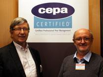 Глава CEPA, Бертран Монтморо, слева, и генеральный директор СЕРА, Роланд Хиггинс, справа