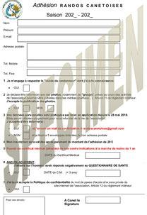Formulaire d'adhésion à Randos Canétoises en ligne