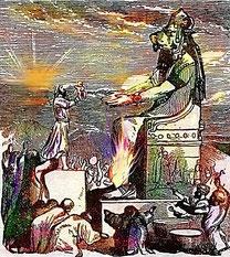 Moloch Baal (dans la tradition biblique, nom du dieu des Ammonites, une ethnie cananéenne)