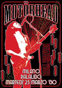 Motorhead, lemmy kilmister, motorhead poster, vintage rock poster, palalido, milano, italy, 25 march 1980, the age of spades