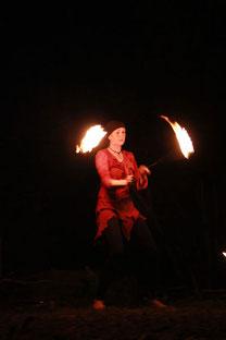 Petra bei der Feuershow