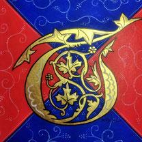 Enluminure d'inspiration bible ardennaise XIIIe. Création Or-et-Caractères